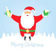Santa Claus jumping with glass and champagne. Merr Stock Images