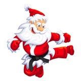 Santa klaus jump kick. Santa Claus jumping kick in Martial arts and Kickboxing. Vector EPS-10 Stock Photo