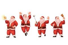 Santa Claus jumping, ringing a bell, making selfie, drinking beer Stock Image