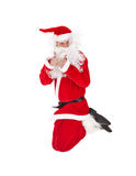 Santa Claus jumping with thumb up sign Stock Images