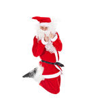 Santa Claus jumping with thumb up sign Royalty Free Stock Images