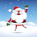 Santa Claus jumps of happiness in Christmas Stock Photo