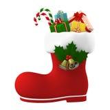Santa Claus känga som är välfylld med gåvor illustration 3d stock illustrationer