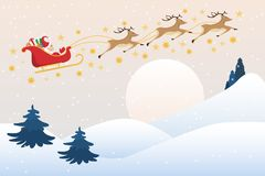 Santa Claus kör släden med renen på fullmånehimlen, plan tecknad film vektor illustrationer