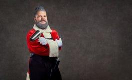 Santa Claus-kapperkapper op de achtergrond van copyspace stock foto's