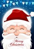 Santa Claus-karakter witte baard en snorren in traditionele Kerstmisvakantie op nachtachtergrond Stock Afbeelding