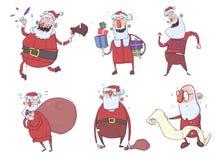 Santa Claus-karakters voor Kerstkaarten De gelukkige dragende giften van Santa Claus in de zak en in de doos, lezing, het dansen royalty-vrije illustratie