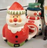 Santa Claus keramisk kopp Royaltyfria Foton