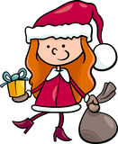 Santa claus kid cartoon illustration Royalty Free Stock Images