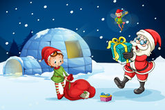 Santa claus and kids Stock Images