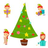Santa Claus kids cartoon elf helpers vector illustration children characters traditional costume Stock Images
