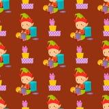 Santa Claus kids cartoon elf helpers vector illustration Royalty Free Stock Images