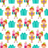 Santa Claus kids cartoon elf helpers vector illustration children characters traditional costume seamless pattern Royalty Free Stock Photo