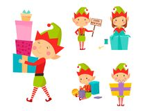 Santa Claus kids cartoon elf helpers vector illustration children characters traditional costume Royalty Free Stock Photography