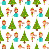 Santa Claus kids cartoon elf helpers vector illustration children characters traditional costume seamless pattern Stock Images