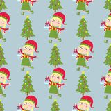 Santa Claus kids cartoon elf helpers vector illustration children elves characters traditional seamless pattern costume. Stock Images