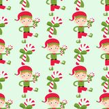 Santa Claus kids cartoon elf helpers vector illustration children elves characters traditional seamless pattern costume. Royalty Free Stock Photos