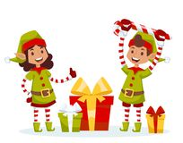 Santa Claus kids cartoon elf helpers vector. Illustration. Santa Claus elf helpers children. Santa helpers traditional costume. Santa family elfs isolated on Royalty Free Stock Photography