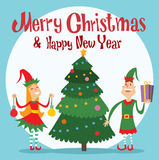 Santa Claus kids cartoon elf helpers vector Stock Photo