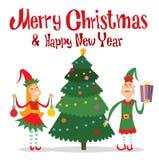 Santa Claus kids cartoon elf helpers vector Royalty Free Stock Images