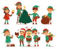 Santa Claus kids cartoon elf helpers. Vector illustration. Santa Claus elf helpers children. Santa helpers traditional costume. Santa family elfs on background vector illustration