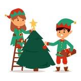 Santa Claus kids cartoon elf helpers Royalty Free Stock Images
