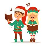 Santa Claus kids cartoon elf helpers Royalty Free Stock Photography