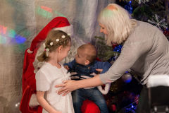 Santa Claus and kids Royalty Free Stock Images