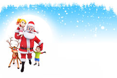Santa claus with kids and reindeer Royalty Free Stock Photos