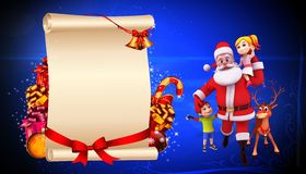 santa claus with kids and sign Stock Photo