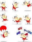 Santa Claus klädde som vikingar Arkivbilder