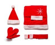 Santa Claus-Kleidung lokalisiert auf weißem Hintergrund Stockbilder