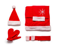 Santa Claus-kleren die op witte achtergrond worden geïsoleerd Stock Afbeeldingen