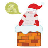 Santa Claus klibbade i lampglaset Arkivbild