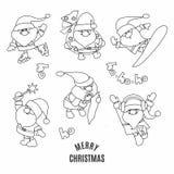 Santa Claus klotteruppsättning Svartvit vektorillustration royaltyfri illustrationer