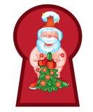Santa Claus kom att besöka med en härlig julgran Royaltyfri Fotografi