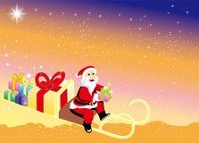 Santa Claus kommer med julgåvor Royaltyfri Foto