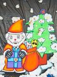 Santa Claus konstarbete Arkivfoto