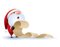 Santa Claus kontrollerande lista Arkivfoto