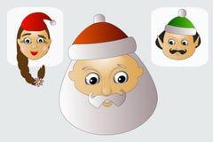 Santa Claus-Kopf, Elfen und Frau sind Team glückliches Weihnachten Stockfoto