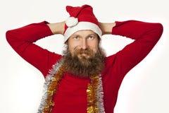Santa Claus koppla av Arkivbild