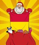 Santa Claus krijgt nationale vlag van Andorra uit de zak met speelgoed in pop-artstijl Illustratie van nieuw jaar in pop-artstijl vector illustratie