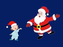 Santa Claus kwam de kleine jongen met Kerstmis gelukwensen Royalty-vrije Stock Foto