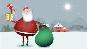 Santa Claus lächelt an Ihnen in einer Weihnachtslandschaft mit dem grünen Sack voll von Geschenken und einigen speziellen von für stock abbildung