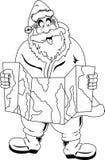 Santa Claus läsningöversikt Arkivfoto