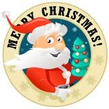 Santa Claus Label divertente Immagine Stock