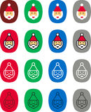 Santa Claus label icons. Colorful set of flat icons of Christmas labels illustrated with Santa Claus Royalty Free Stock Images