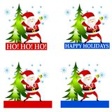Santa Claus Labels or Logos Clip Art Stock Image