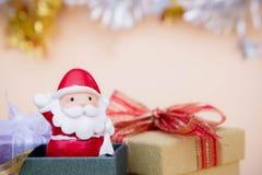 Santa Claus lali bożych narodzeń tło, prezent kopia i pudełko przestrzeń i obrazy stock
