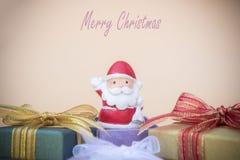 Santa Claus lali bożych narodzeń tło, prezent kopia i pudełko spac i royalty ilustracja
